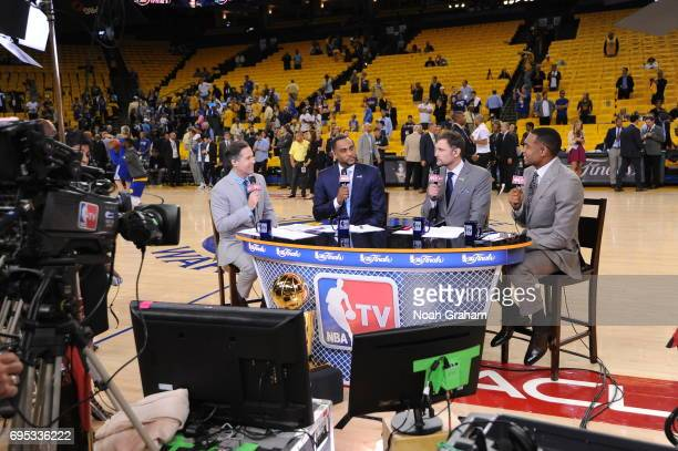 Matt Winer Steve Smith Brent Barry and Grant Hill are seen before the game between the Golden State Warriors and the Cleveland Cavaliers in Game Five...