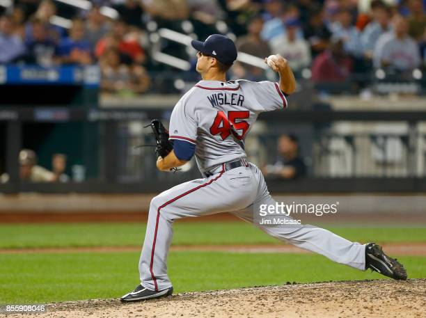 Matt Wisler of the Atlanta Braves in action against the New York Mets at Citi Field on September 27 2017 in the Flushing neighborhood of the Queens...