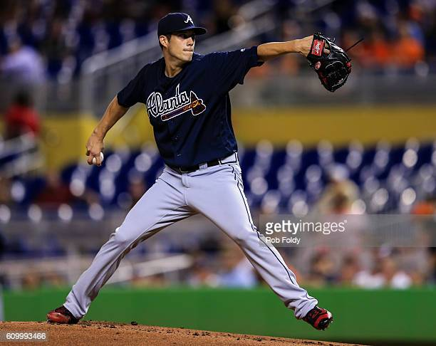 Matt Wisler of the Atlanta Braves pitches during the game against the Miami Marlins at Marlins Park on September 23 2016 in Miami Florida