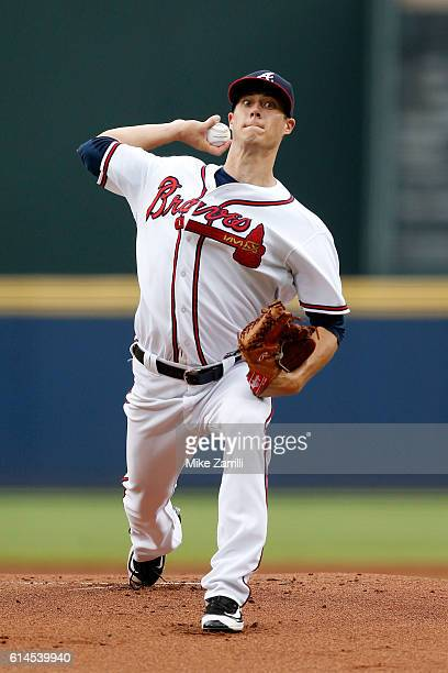 Matt Wisler of the Atlanta Braves pitches during the game against the Cleveland Indians at Turner Field on June 28 2016 in Atlanta Georgia