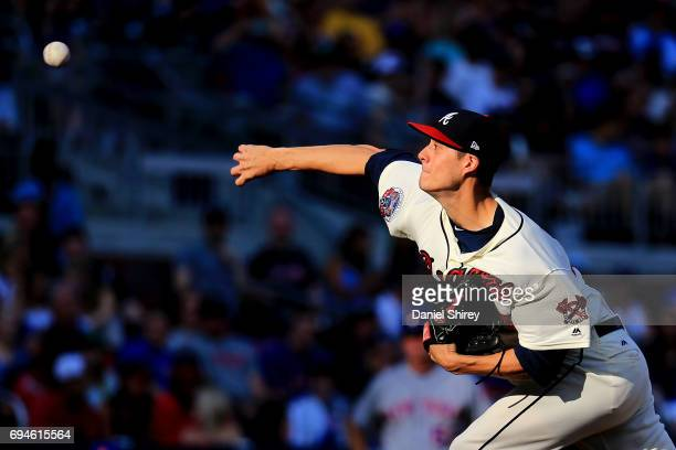 Matt Wisler of the Atlanta Braves pitches during the third inning against the New York Mets at SunTrust Park on June 10 2017 in Atlanta Georgia