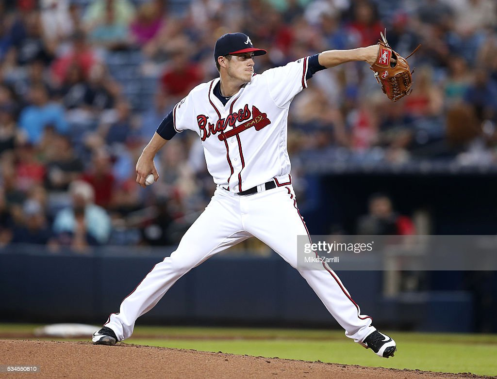 Matt Wisler of the Atlanta Braves throws a pitch in the fourth inning during the game against the Milwaukee Brewers at Turner Field on May 26, 2016 in Atlanta, Georgia.