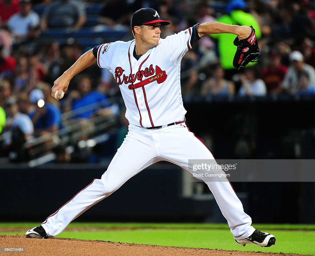 Matt Wisler #37 of the Atlanta Braves throws a third inning pitch against the Philadelphia Phillies at Turner Field on July 28, 2016 in Atlanta, Georgia.