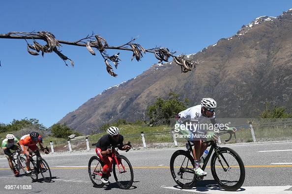 Matt Zenovich of Invercargill heads towards Queenstown in stage four of the Tour of Southland on November 5 2015 in Invercargill New Zealand