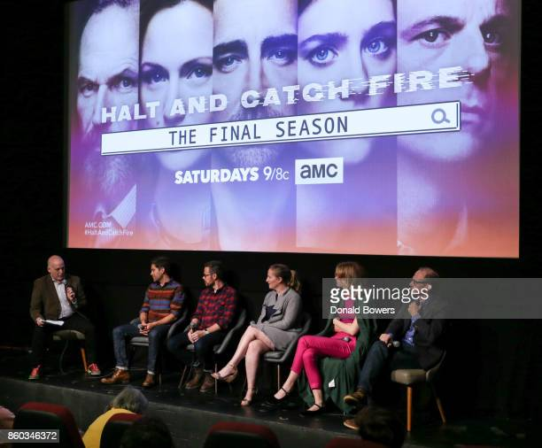 Matt Zoller Seitz Christopher Rogers Christopher Cantwell Melissa Bernstein Mackenzie Davis and Toby Huss attend The 'Halt And Catch Fire' Screening...