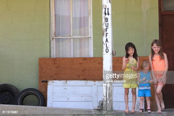 Mattea Drabant Nevaeh Drabant and Lakieriana Drabant age 7 stand for a portrait in front of their home on July 6 2017 in Butte Montana The sisters'...
