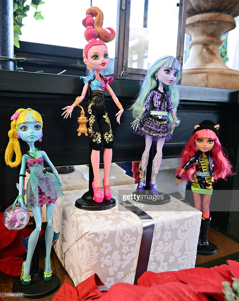 Mattel Inc.'s, Monster High 13 Wishes doll assortment including Lagoona Blue, from left, Gigi Grant, Twyla and Howleen Wolf, stands on display at the company's Get Your Santa Together event in New York, U.S., on Thursday, June 20, 2013. Mattel, Inc., a toy manufacturing company founded in 1945, produces brands that include Fisher Price, Barbie dolls, Monster High dolls, Hot Wheels and Matchbox toys, Masters of the Universe, American Girl dolls, board games, WWE Toys, and early-1980s video game systems. Photographer: Peter Foley/Bloomberg via Getty Images