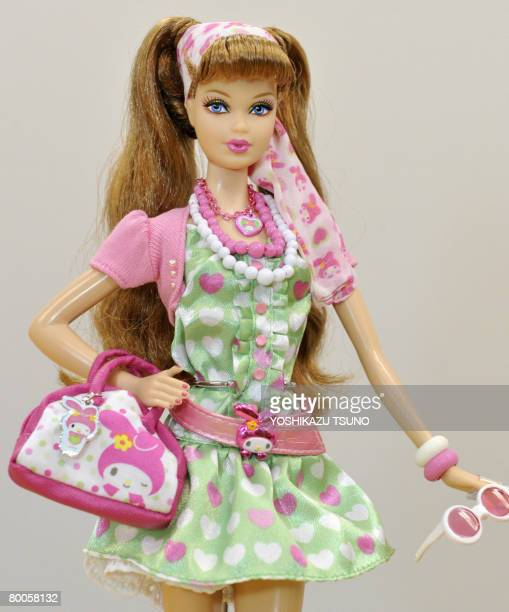 Mattel International's Barbie doll 'My Melody Barbie' is seen wearing Sanrio's rabbit character My Melody designed belt bag scarf and accesories in...
