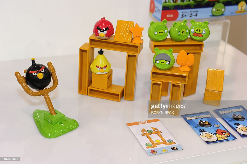 Mattel's Angry Birds board game is on display at the 2011 International Consumer Electronics Show January 8, 2011 in Las Vegas, Mattel's version of the popular mobile game app will retail for USD $14.99, and will be available in May. Nevada. CES, the world's largest annual consumer technology tradeshow runs from January 6-9. AFP PHOTO / Robyn Beck
