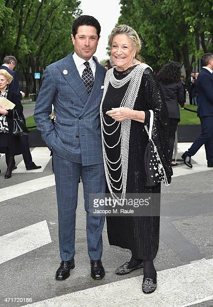 Matteo and Marta Marzotto attends the Giorgio Armani 40th Anniversary Silos Opening And Cocktail Reception on April 30 2015 in Milan Italy