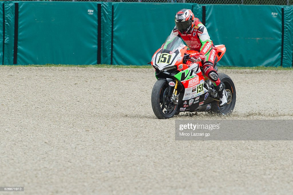 Matteo Baiocco of Italy and VFT Racing rides out of track during the Superbike race 2 during the World Superbikes - Race at Enzo & Dino Ferrari Circuit on May 10, 2015 in Imola, Italy.