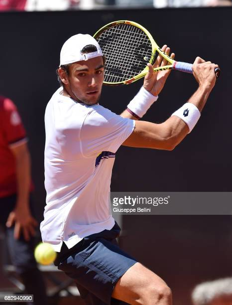 Matteo Berrettini of Italy in action during the match between Fabio Fognini of Itally and Matteo Berrettini of Italy during The Internazionali BNL...