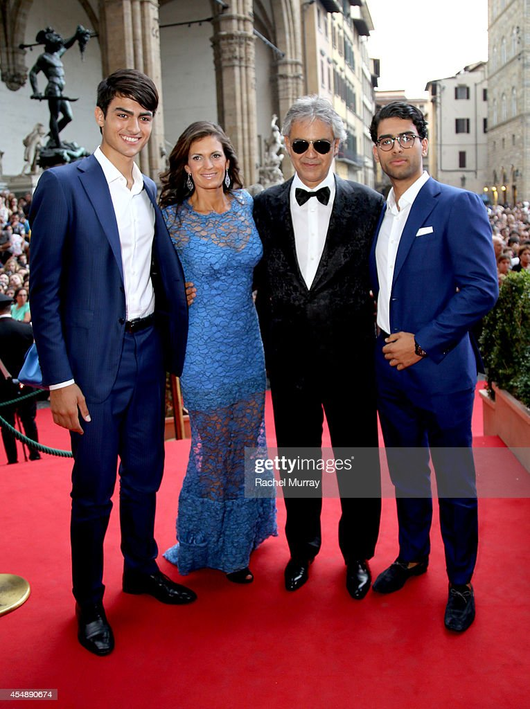 Matteo Bocelli, Veronica Berti, Andrea Bocel, and Amos Bocell attend the Celebrity Fight Night Gala celebrating Celebrity Fight Night In Italy benefitting The <a gi-track='captionPersonalityLinkClicked' href=/galleries/search?phrase=Andrea+Bocelli&family=editorial&specificpeople=211558 ng-click='$event.stopPropagation()'>Andrea Bocelli</a> Foundation and The Muhammad Ali Parkinson Center on September 7, 2014 in Florence, Italy.