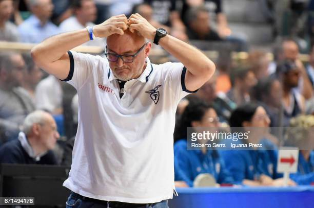 Matteo Boniciolli head coach of Kontatto looks over during the LegaBasket LNP of serie A2 match between Fortitudo Kontatto Bologna and Virtus...