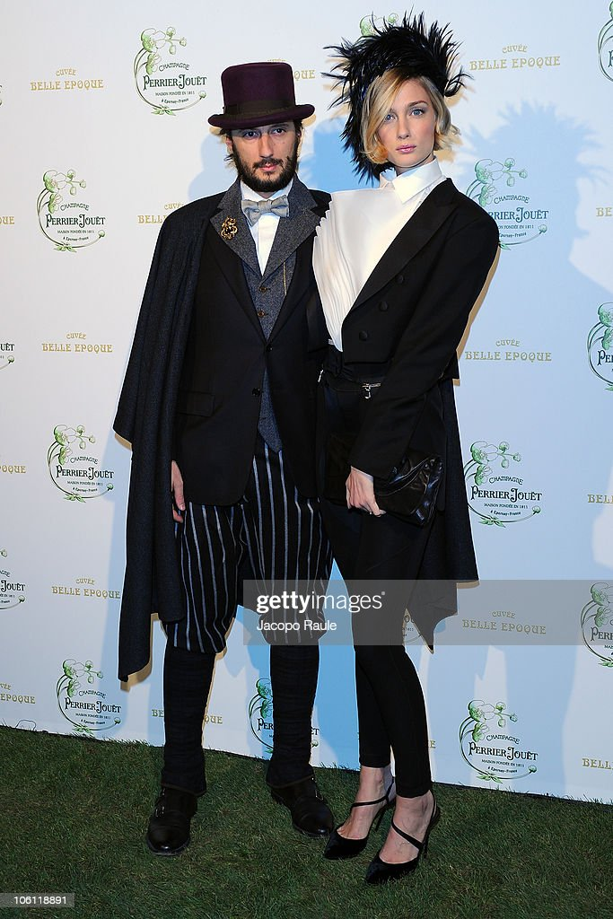 Matteo Ceccarini and Eva Riccobon attend Maison Perrier-Jouet Presents Le Jardin Secret Des Dandies Et Des Muses on October 26, 2010 in Milan, Italy.