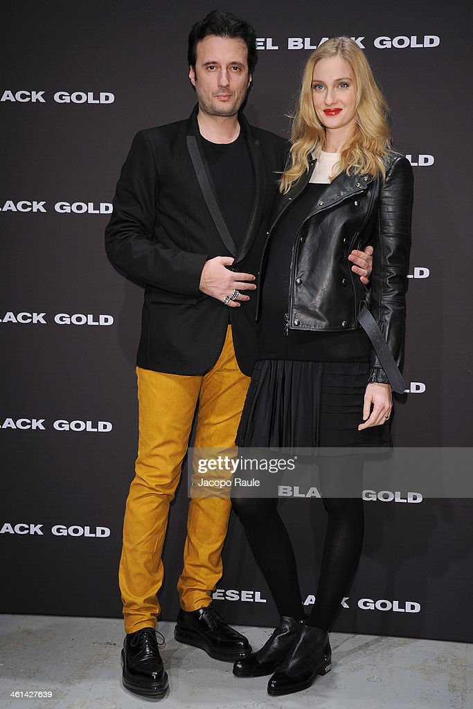 Matteo Ceccarini and Eva Riccobono attend Diesel Black Gold fashion show during Pitti Immagine Uomo 85 on January 8, 2014 in Florence, Italy.