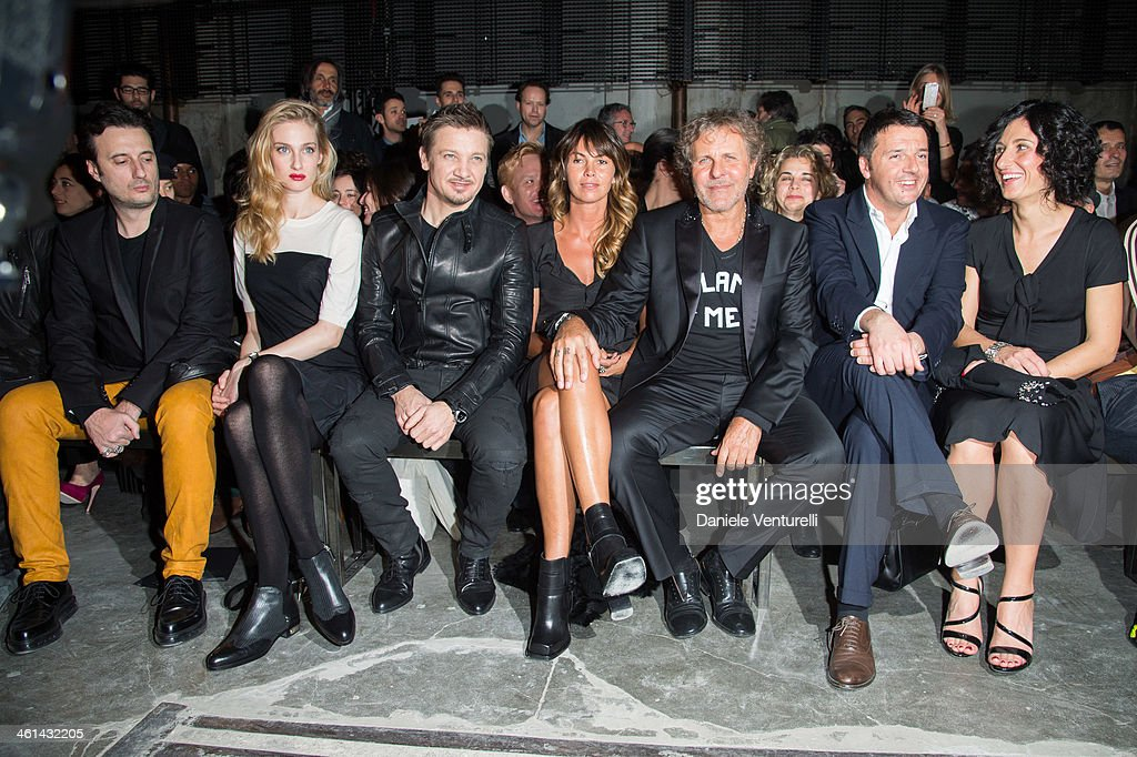 Matteo Ceccarini, Eva Riccobono, Jeremy Renner, Arianna Lessi, Renzo Rosso, Matteo Renzi and Agnese Renzi attend Diesel Black Gold during the Pitti Immagine Uomo 85 on January 8, 2014 in Florence, Italy.