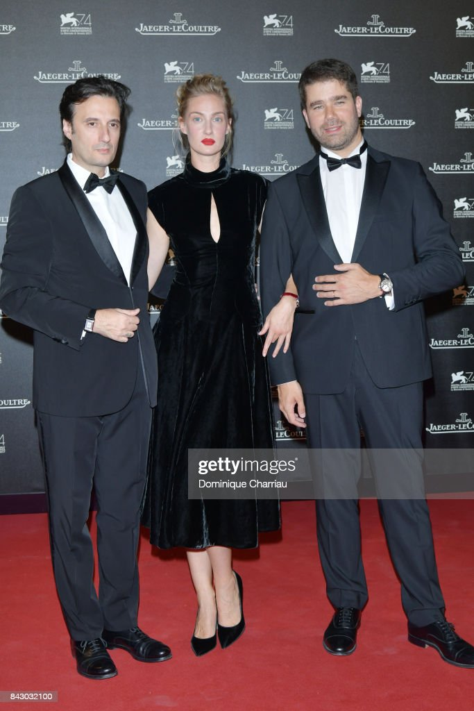 Matteo Ceccarini,Eva Riccobono and Deputy CEO of Jaeger-LeCoultre Geoffroy Lefebvre arrive for the Jaeger-LeCoultre Gala Dinner during the 74th Venice International Film Festival at Arsenale on September 5, 2017 in Venice, Italy.