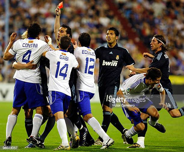 Matteo Contini of Zaragoza is shown the red card during the La Liga match between Zargoza and Real Madrid at La Romareda on April 24 2010 in Zaragoza...