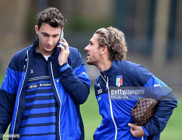 Matteo Darmian and Alessio Cerci prior to the Italy Training Session at Coverciano on November 12 2014 in Florence Italy