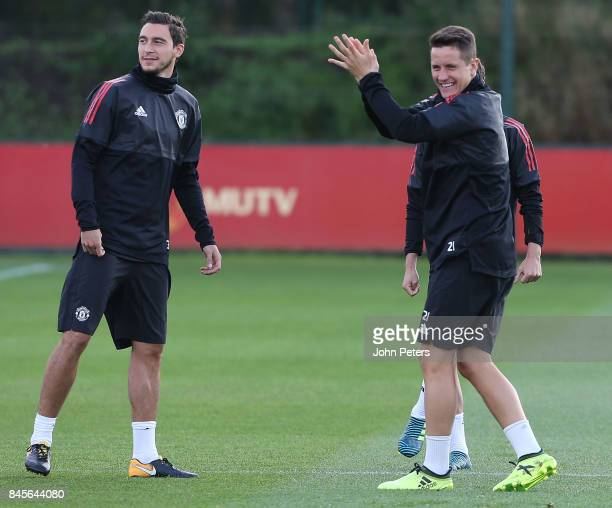 Matteo Darmian and Ander Herrera of Manchester United in action during a first team training session at Aon Training Complex on September 11 2017 in...