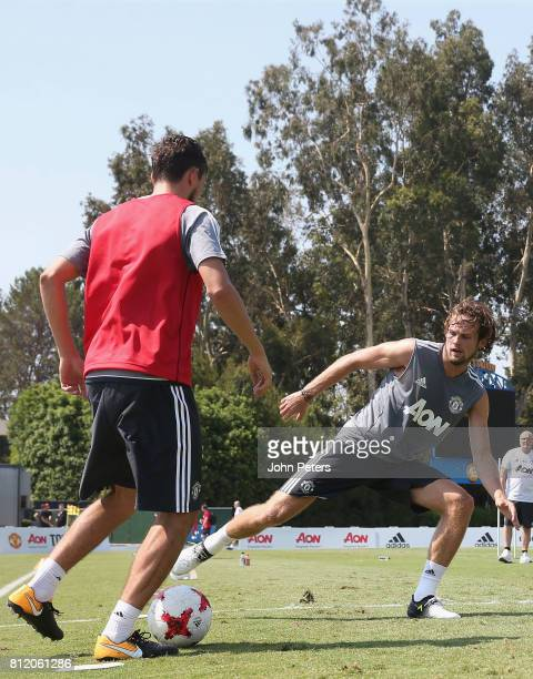 Matteo Darmian and Daley Blind of Manchester United in action during a first team training session as part of their preseason tour of the United...