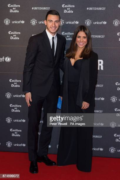 Matteo Darmian and Francesca Cormanni attend a gala dinner at Old Trafford in Manchester held by Manchester United and Unicef to raise funds for the...
