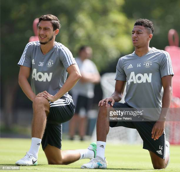 Matteo Darmian and Jesse Lingard of Manchester United in action during a first team training session as part of their preseason tour of the USA at...