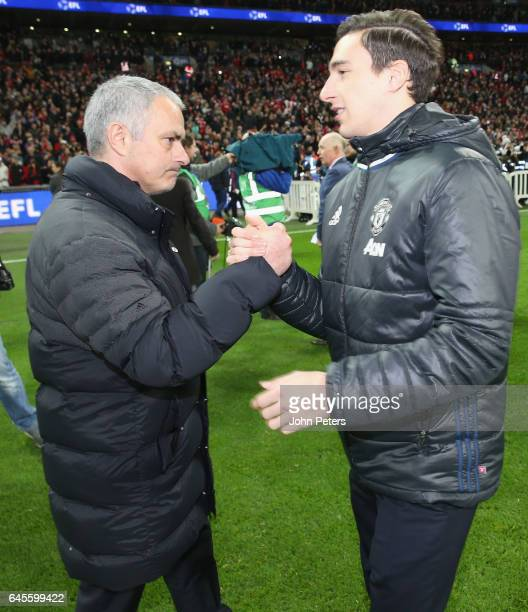 Matteo Darmian and Manager Jose Mourinho of Manchester United celebrate after the EFL Cup Final match between Manchester United and Southampton at...