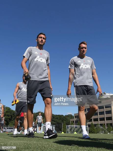 Matteo Darmian and Phil Jones of Manchester United in action during a first team training session as part of their preseason tour of the USA on July...