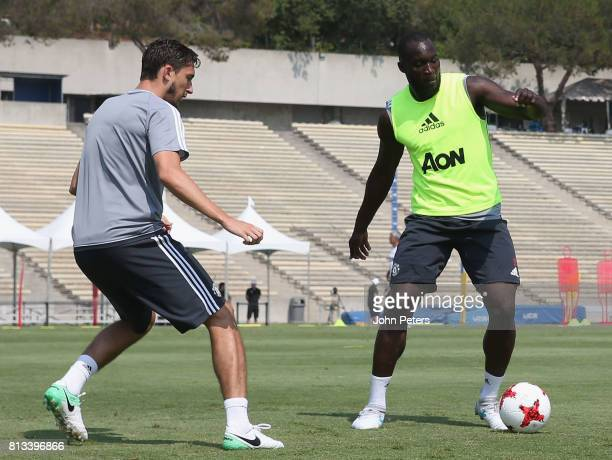 Matteo Darmian and Romelu Lukaku of Manchester United in action during a first team training session as part of their preseason tour of the USA at...