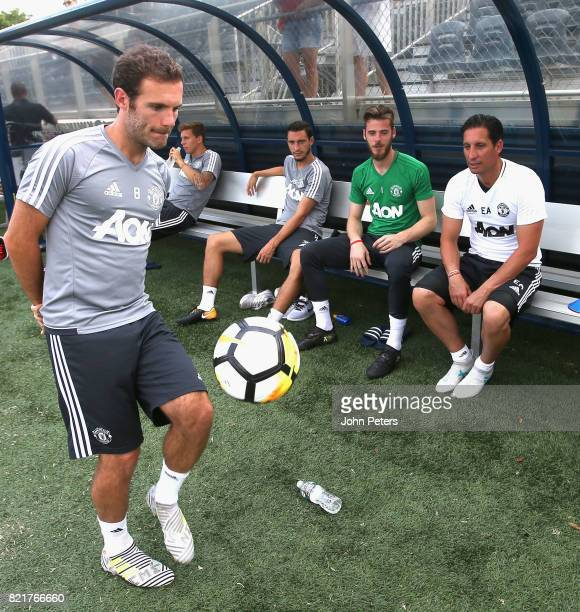Matteo Darmian David de Gea Coach Emilio Alvarez and Juan Mata of Manchester United in action during a first team training session as part of their...