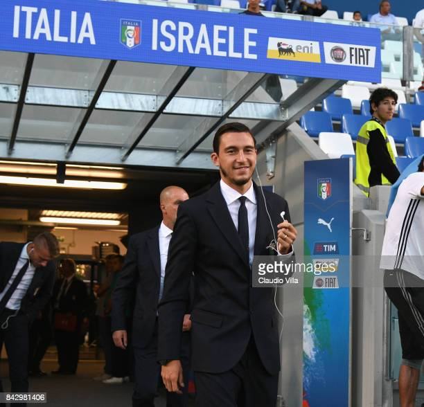 Matteo Darmian of Italy arrives prior to the FIFA 2018 World Cup Qualifier between Italy and Israel at Mapei Stadium Citta' del Tricolore on...