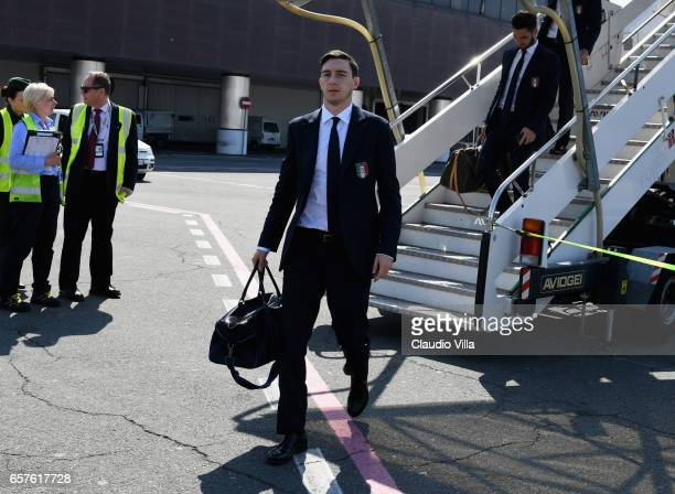 Matteo Darmian of Italy arrives to Florence Airport on March 25 2017 in Florence Italy