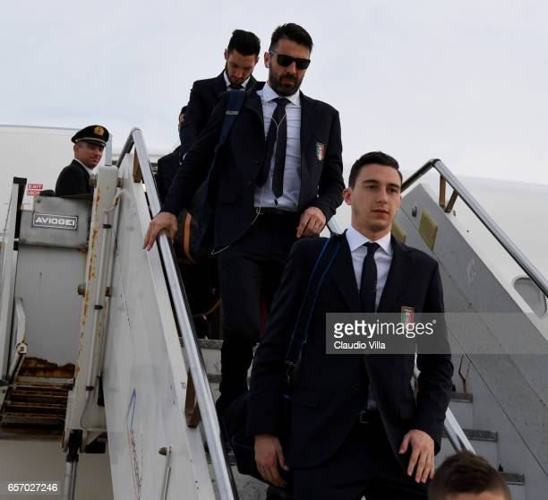 Matteo Darmian of Italy arrives to Palermo on March 23 2017 in Palermo Italy
