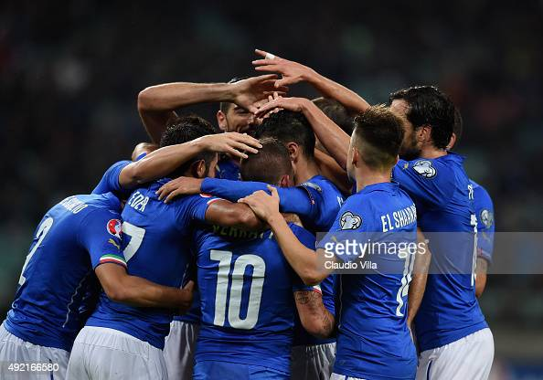Matteo Darmian of Italy celebrates after scoring the third goal during the UEFA Euro 2016 qualifying football match between Azerbaijan and Italy at...