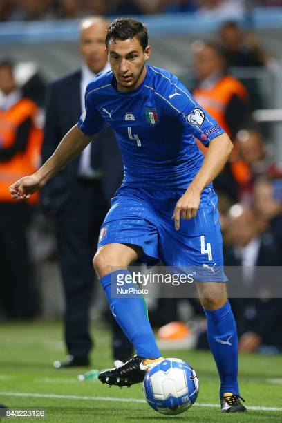 Matteo Darmian of Italy during the FIFA World Cup 2018 qualification football match between Italy and Israel at Mapei Stadium in Reggio Emilia on...