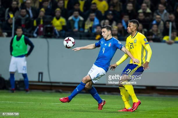 Matteo Darmian of Italy in a duel with Isaac Kiese Thelin of Sweden during the FIFA 2018 World Cup Qualifier PlayOff First Leg between Sweden and...