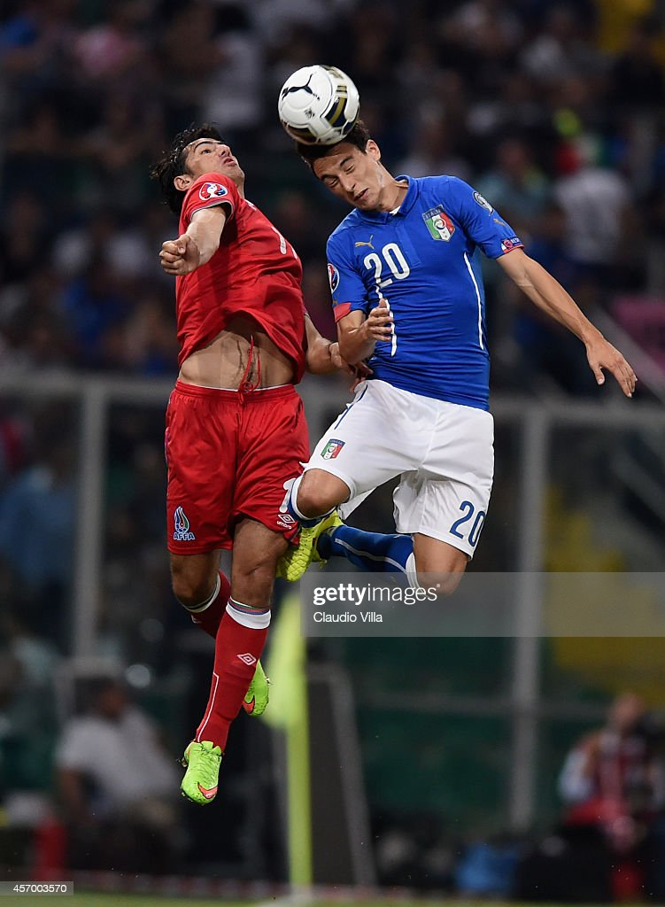 <a gi-track='captionPersonalityLinkClicked' href=/galleries/search?phrase=Matteo+Darmian&family=editorial&specificpeople=7096006 ng-click='$event.stopPropagation()'>Matteo Darmian</a> of Italy #20 in action during the EURO 2016 Group H Qualifier match between Italy and Azerbaijan at Stadio Renzo Barbera on October 10, 2014 in Palermo, Italy.