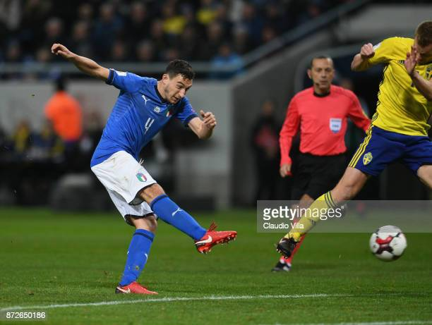 Matteo Darmian of Italy in action during the FIFA 2018 World Cup Qualifier PlayOff First Leg between Sweden and Italy at Friends Arena on November 10...