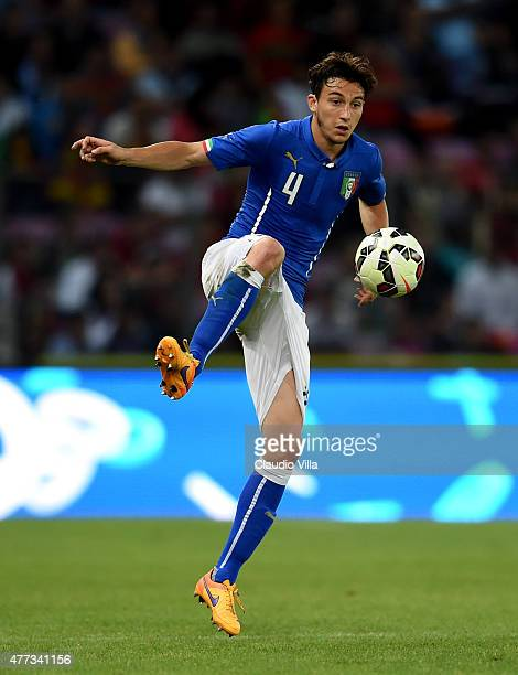 Matteo Darmian of Italy in action during the international friendly match between Portugal and Italy at Stade de Geneve on June 16 2015 in Geneva...
