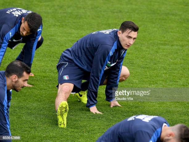 Matteo Darmian of Italy in action during the training session at the club's training ground at Coverciano on March 20 2017 in Florence Italy