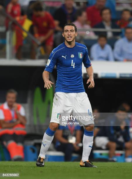 Matteo Darmian of Italy looks on during the FIFA 2018 World Cup Qualifier between Spain and Italy at Estadio Santiago Bernabeu on September 2 2017 in...