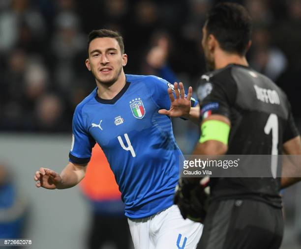 Matteo Darmian of Italy looks on during the FIFA 2018 World Cup Qualifier PlayOff First Leg between Sweden and Italy at Friends Arena on November 10...