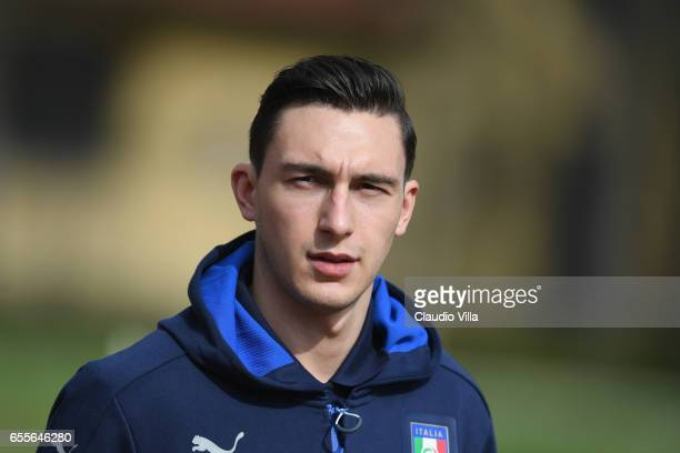 Matteo Darmian of Italy looks on prior to the training session at the club's training ground at Coverciano on March 20 2017 in Florence Italy