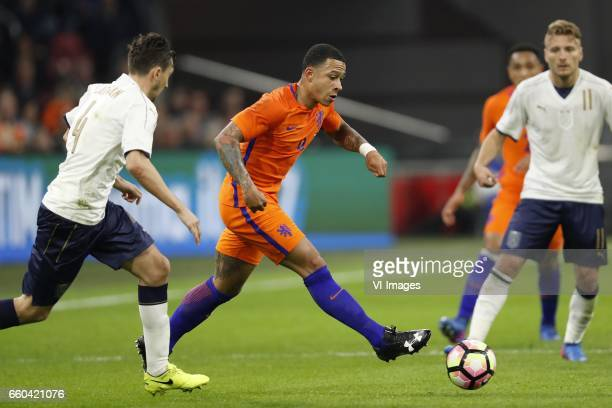 Matteo Darmian of Italy Memphis Depay of Holland Kenny Tete of Holland Ciro Immobile of Italyduring the friendly match between Netherlands and Italy...