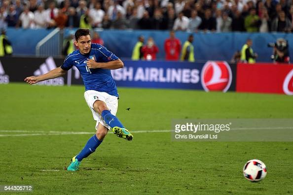 Matteo Darmian of Italy misses during the penalty shoot out following the UEFA Euro 2016 Quarter Final match between Germany and Italy at Nouveau...
