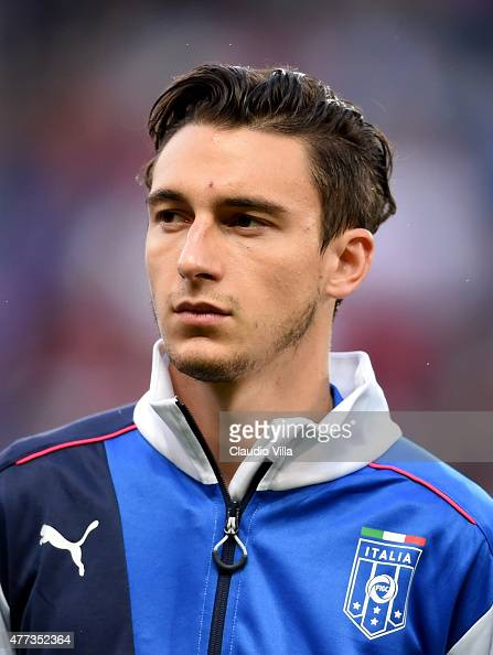 Matteo Darmian of Italy poses prior to the international friendly match between Portugal and Italy at Stade de Geneve on June 16 2015 in Geneva...