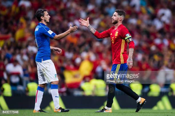 Matteo Darmian of Italy shakes hands with Sergio Ramos of Spain during the 2018 FIFA World Cup Russia Final Qualification Round 1 Group G match...
