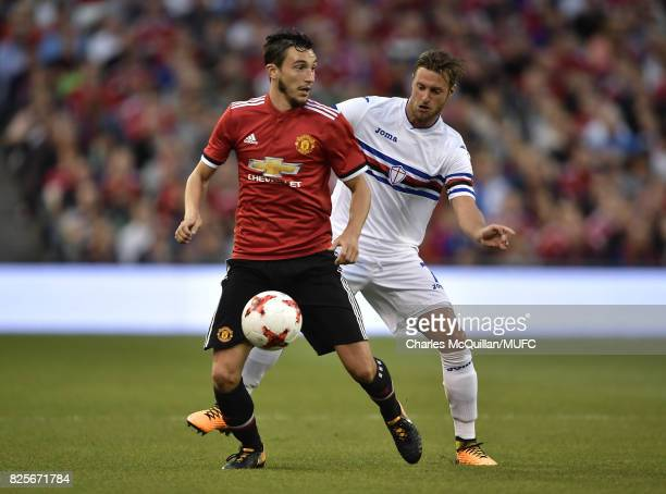 Matteo Darmian of Manchester United and Jacoo Sala of Sampdoria during the Aon Tour pre season friendly game between Manchester United and Sampdoria...